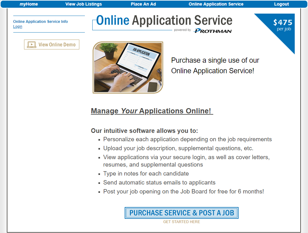 the prothman company our services online application service